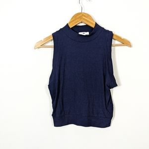 3/15  BP Blue Ribbed Mock Neck Cropped Tank Top